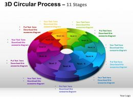 3D Circular Process Cycle Diagram Chart 11 Stages Design 2 ppt Templates 0412