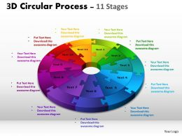 3D Circular Process Cycle Diagram Chart 11 Stages Design 3 Powerpoint Slides And ppt Templates 0412