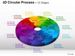 3D Circular Process Cycle Diagram Chart 11 Stages Design 3 ppt Templates 0412