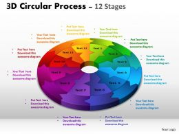 3D Circular Process Cycle Diagram Chart 12 Stages Design 2 Powerpoint Slides And ppt Templates 04120