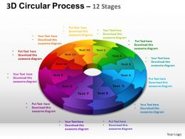 3D Circular Process Cycle Diagram Chart 12 Stages Design 2 ppt Templates 0412