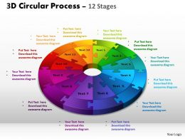 3D Circular Process Cycle Diagram Chart 12 Stages Design 3 Powerpoint Slides And ppt Templates 0412