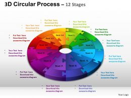 3D Circular Process Cycle Diagram Chart 12 Stages Design 3 ppt Templates 0412