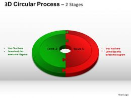 3D Circular Process Cycle Diagram Chart 2 Stages Design 3 ppt Templates 0412
