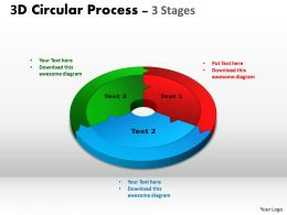 3D Circular Process Cycle Diagram Chart 3 Stages Design 2 Powerpoint Slides And ppt Templates 0412