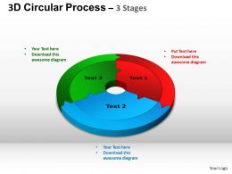3D Circular Process Cycle Diagram Chart 3 Stages Design 2 ppt Templates 0412