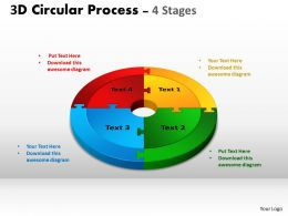3D Circular Process Cycle Diagram Chart 4 Stages Design 3 Powerpoint Slides And ppt Templates 0412