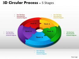 3D Circular Process Cycle Diagram Chart 5 Stages Design 2 Powerpoint Slides And ppt Templates 0412