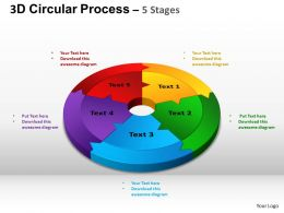 3D Circular Process Cycle Diagram Chart 5 Stages Design 2 ppt Templates 0412