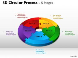 3D Circular Process Cycle Diagram Chart 5 Stages Design 3 Powerpoint Slides And ppt Templates 0412