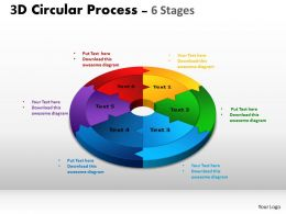 3D Circular Process Cycle Diagram Chart 6 Stages Design 2 Powerpoint Slides And ppt Templates 0412