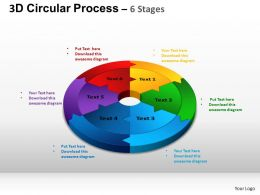 3D Circular Process Cycle Diagram Chart 6 Stages Design 2 ppt Templates 0412