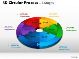 3D Circular Process Cycle Diagram Chart 6 Stages Design 3 Powerpoint Slides And ppt Templates 0412