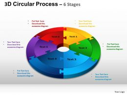 3D Circular Process Cycle Diagram Chart 6 Stages Design 3 ppt Templates 0412