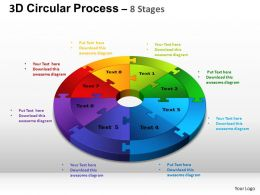 3D Circular Process Cycle Diagram Chart 8 Stages Design 3 ppt Templates 0412