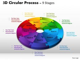 3D Circular Process Cycle Diagram Chart 9 Stages Design 3 Powerpoint Slides And ppt Templates 0412