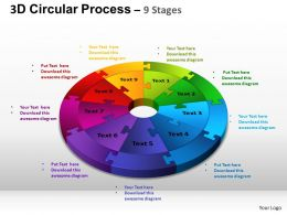 3D Circular Process Cycle Diagram Chart 9 Stages Design 3 ppt Templates 0412