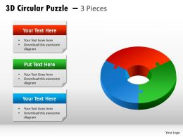 3D Circular Puzzle 3 Pieces diagram PPT 7