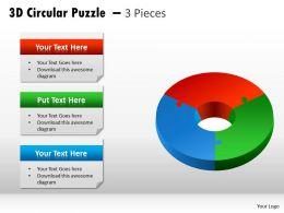 3D Circular Puzzle 3 Pieces diagram PPT 7