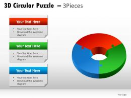 3d Circular Puzzle 3 Pieces Powerpoint Presentation Slides