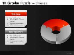 3D Circular Puzzle 3 Powerpoint Presentation Slides DB