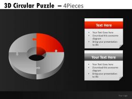 3D Circular Puzzle 4 Powerpoint Presentation Slides DB