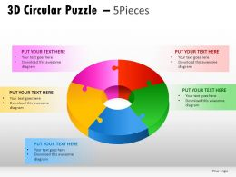 3d Circular Puzzle 5 Pieces Powerpoint Presentation Slides