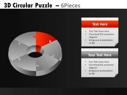 3D Circular Puzzle 6 Powerpoint Presentation Slides DB