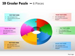 3D Circular Puzzle diagram 6 Pieces PPT 6