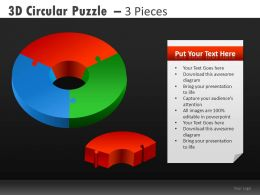3d Circular Puzzle Powerpoint Presentation Slides DB