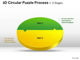 3D Circular Puzzle Process 2 Stages Style 2 ppt Templates 0412