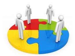 3D Circular Puzzle With 3D Men Team Stock Photo