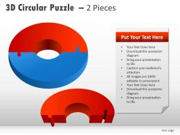 3d Circular Puzzle With Pieces Powerpoint Presentation Slides