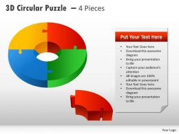 3D Circular Puzzle With Pieces PPT 3