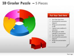 3D Circular Puzzle With Pieces PPT 4