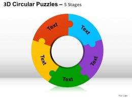 3D Circular Puzzles 5 Stages Powerpoint Presentation Slides