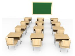 3D Class Room With Seats And Board Stock Photo