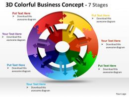 3D Colorful Business diagram Concept 7 Stages 1