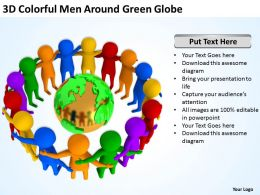3D Colorful Men Around Green Globe Ppt Graphics Icons Powerpoint