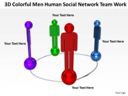 3D Colorful men human social network team work Ppt Graphic Icon