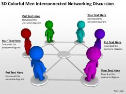 3D Colorful men Interconnected networking discussion Ppt Graphics Icons