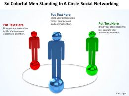 3d colorful men standing in a circle social networking Ppt Graphic Icon