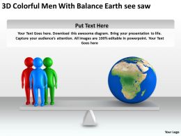 3D Colorful Men With Balance Earth see saw Ppt Graphic Icon