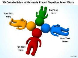 3D Colorful Men With Heads Placed Together team work Ppt Graphic Icon