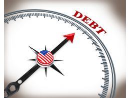 3D Compass Arrow Pointing On Debt Stock Photo