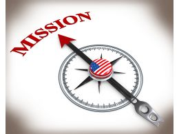 3D Compass Pointing On Mission With Us Flag Stock Photo