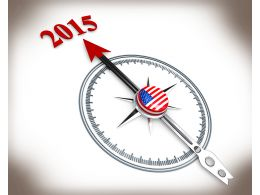 3D Compass With 2015 Target Stock Photo