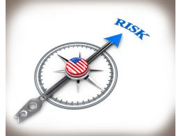 3D Compass With Word Risk And Us Flag Stock Photo