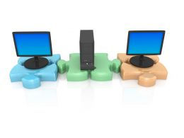 3D Computers With Server Background Stock Photo