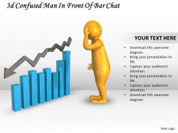 3d Confused Man In Front Of Bar Chart Ppt Graphics Icons Powerpoint